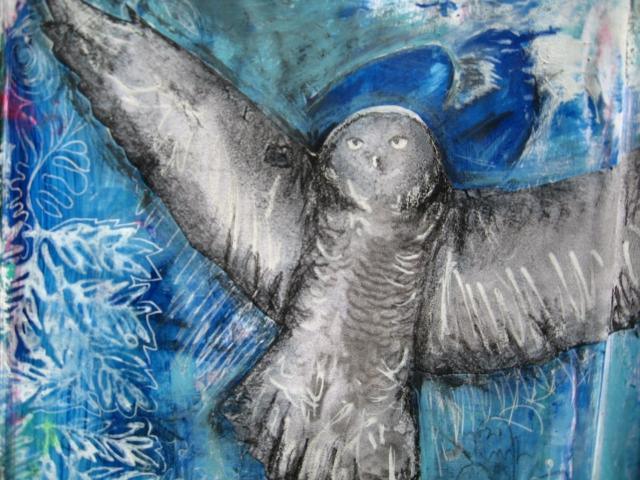 Copyright 2014_RachelUrista_Mixed Media Painting_Owl