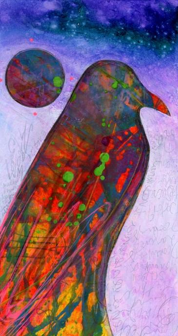 Crow, 4x7 Mixed media on board