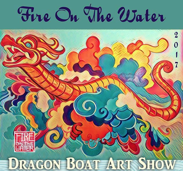 Fire on the water, 2017, Art Show, Portland, Porland5, Downtown art, Oregon Artist, Rachel Urista, Dragon boat, Dragon Art, Fantasy Art, Mixed media art, Corvallis Artist