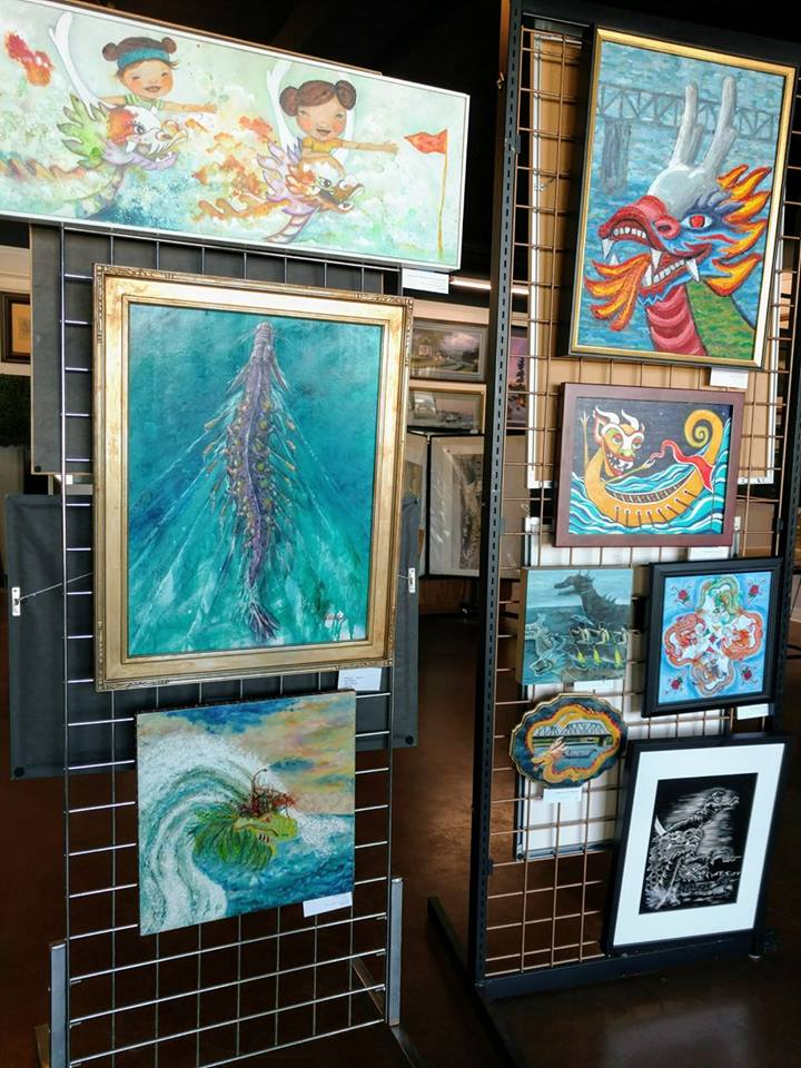 Art Show, Portland, Porland5, Downtown art, Oregon Artist, Rachel Urista, Dragon boat, Dragon Art, Fantasy Art, Mixed media art, Corvallis Artist