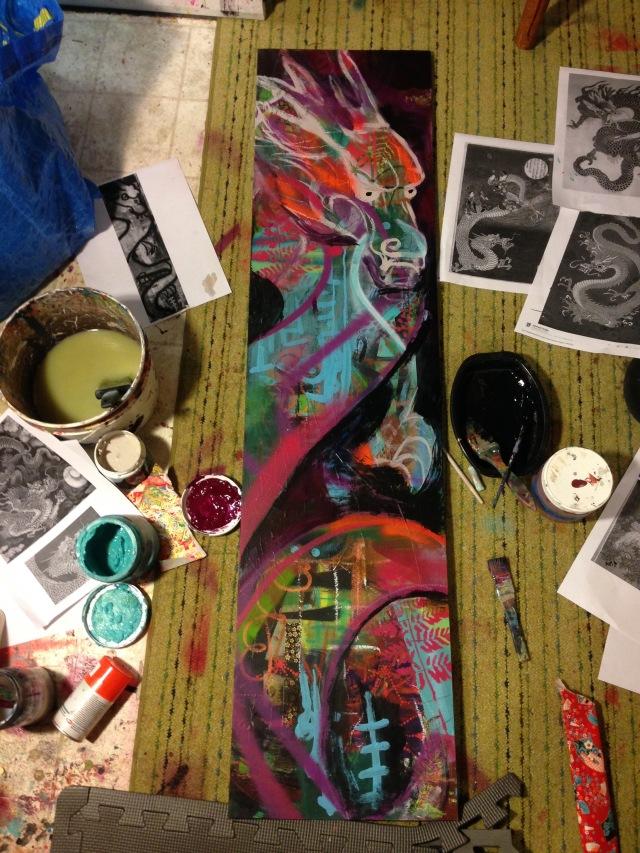 Fire on the water, 2017, Art Show, Portland, Porland5, Downtown art, Oregon Artist, Rachel Urista, Dragon boat, Dragon Art, Fantasy Art, Mixed media art, Corvallis Artist, japanese dragon art, Japanese art, japanese dragon